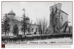 1918/1919 - After the War for Independence, the County of Pechory was founded in Estonian Republic. The county included numerous Russian villages. A brigade of Estonian troops by the Senno church.