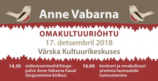 Anne Vabarna nimelise omakultuuripreemia laureaadid on selgunud